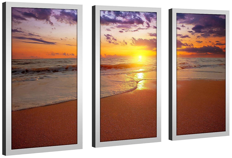 Picture Perfect International Bahama Mama Framed Plexiglass Art Set of 3 Wall-Decor 13.5 W x 25.5 H x 1 D