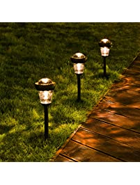 Solar Pathway Lights, DecorNova Waterproof Stainless Steel Solar Garden  Lights Landscape Lighting With 2 LEDs
