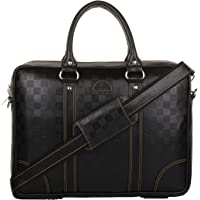 K London Leatherite Handmade Black Unisex Laptop Bag Cross Over Shoulder Messenger Bag(1803_square_blackk)