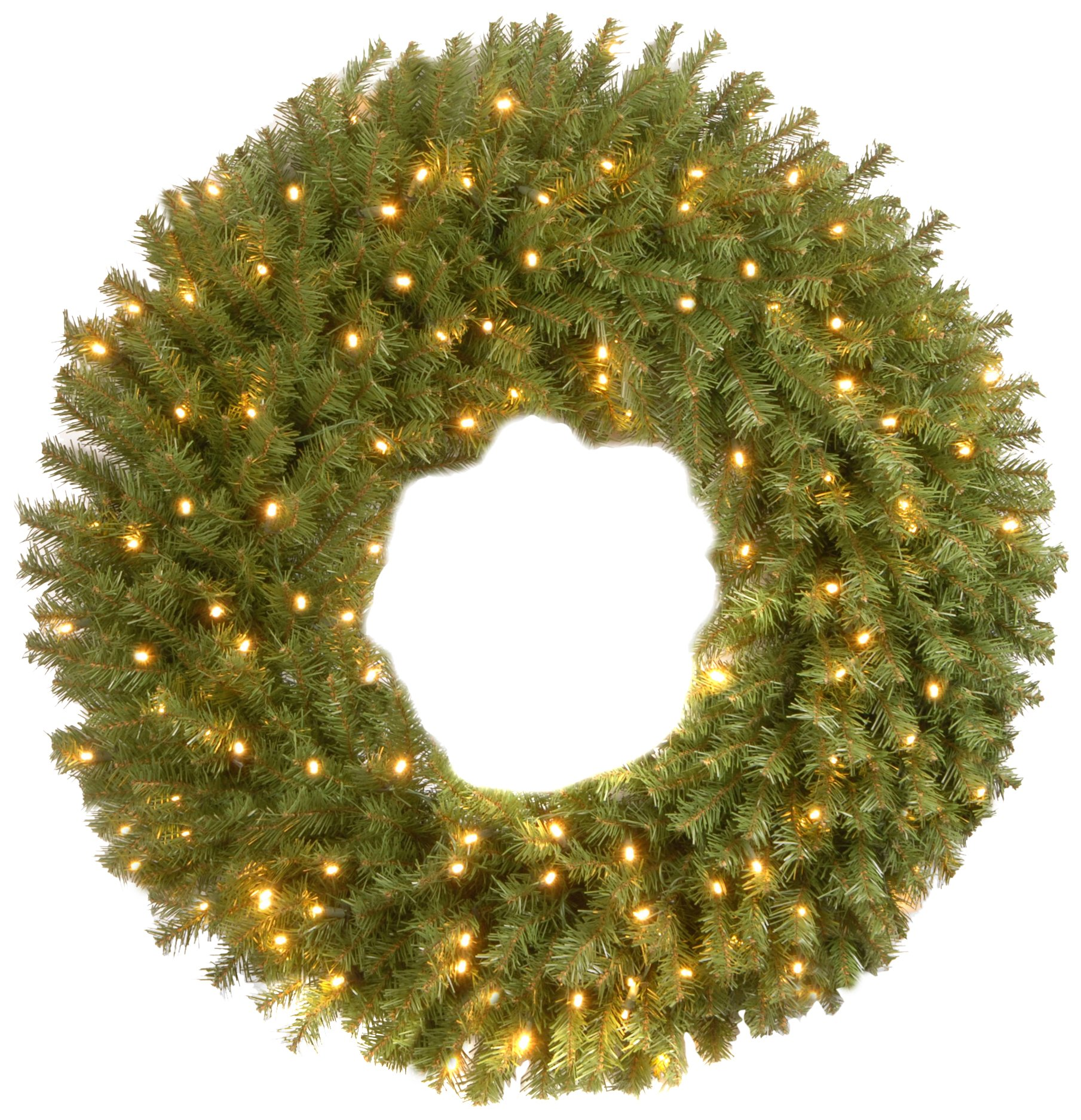 National Tree 36 inch Norwood Fir Wreath with 100 Battery Operated Dual LED Lights (NF-304D-36W-B1)