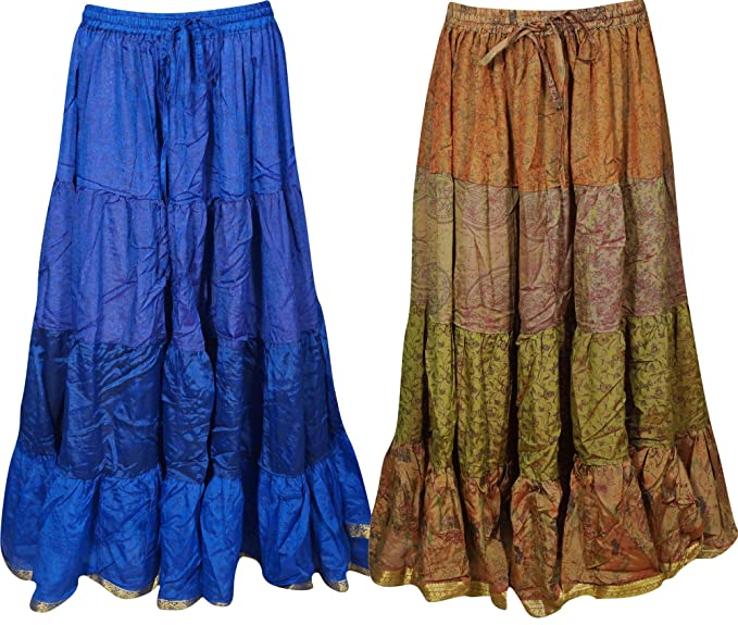 d794f5577fd Mogul Interior Boho Chic Womens Maxi Skirts Bellydance Full Flare ...