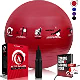 Active Balance Swiss Ball - Fitness Ball With Imprinted Exercises & Training eBook - Best Exercise Ball For Yoga, Stability Ball Workouts & Pilates