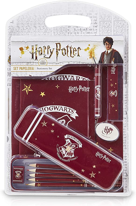 HARRY POTTER Set de papeler/ía para el cole de 5 piezas con los escudos de las casas