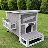 ROCKEVER Outdoor Cat Shelter with Escape Door
