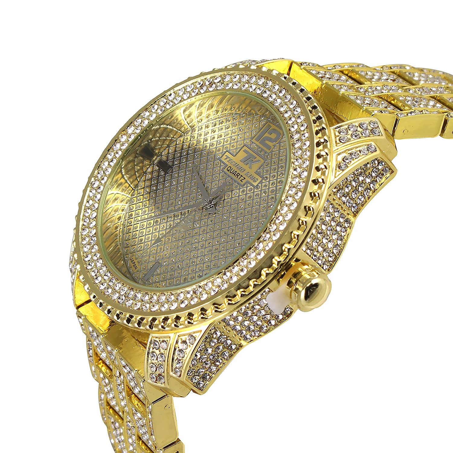 Techno KING Men s Fashion Soul of Stone Series Golden World Watch 1078GM Gold