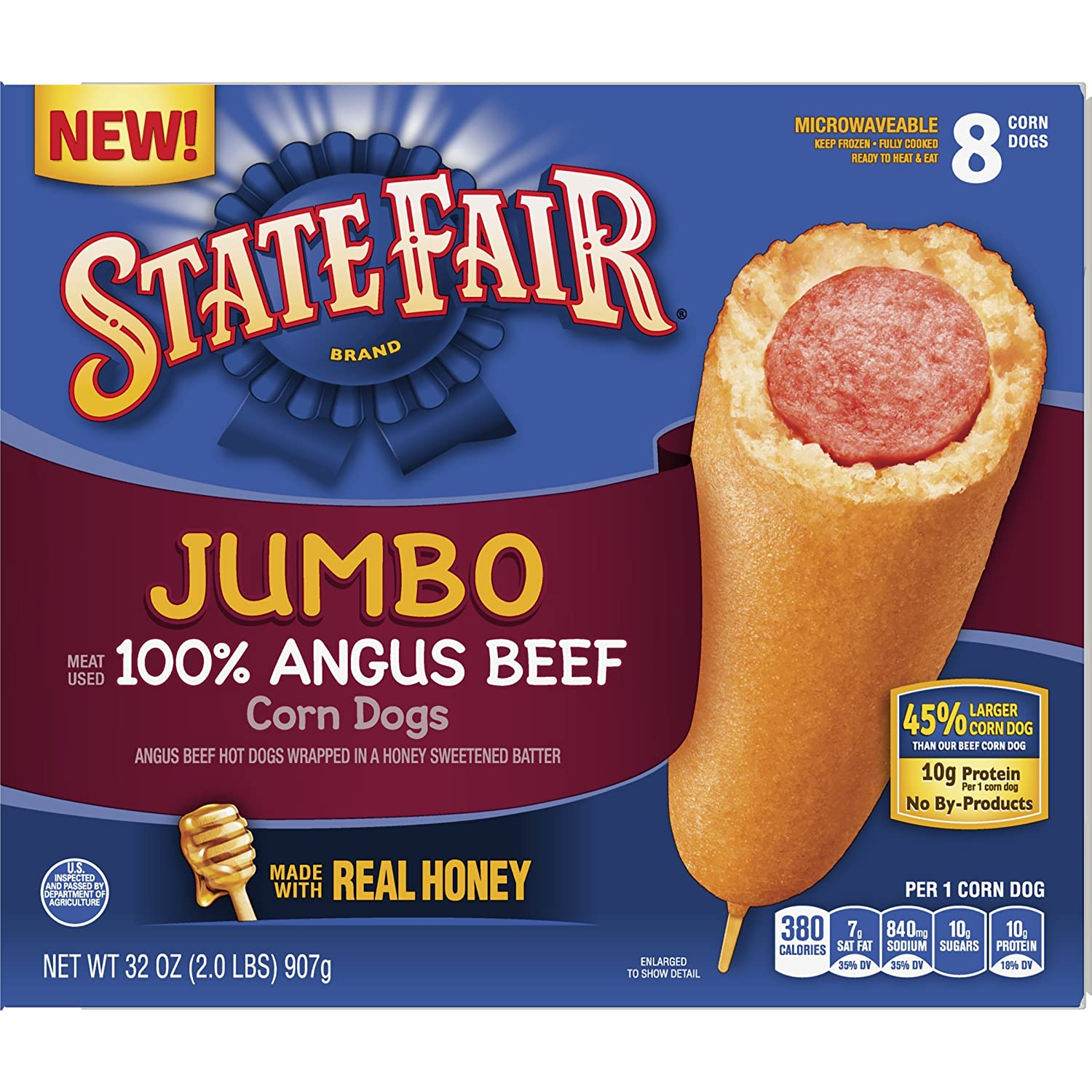 State Fair Jumbo Corn Dogs, 100% Angus Beef, 8 Ct (frozen): Amazon.com: Grocery & Gourmet Food