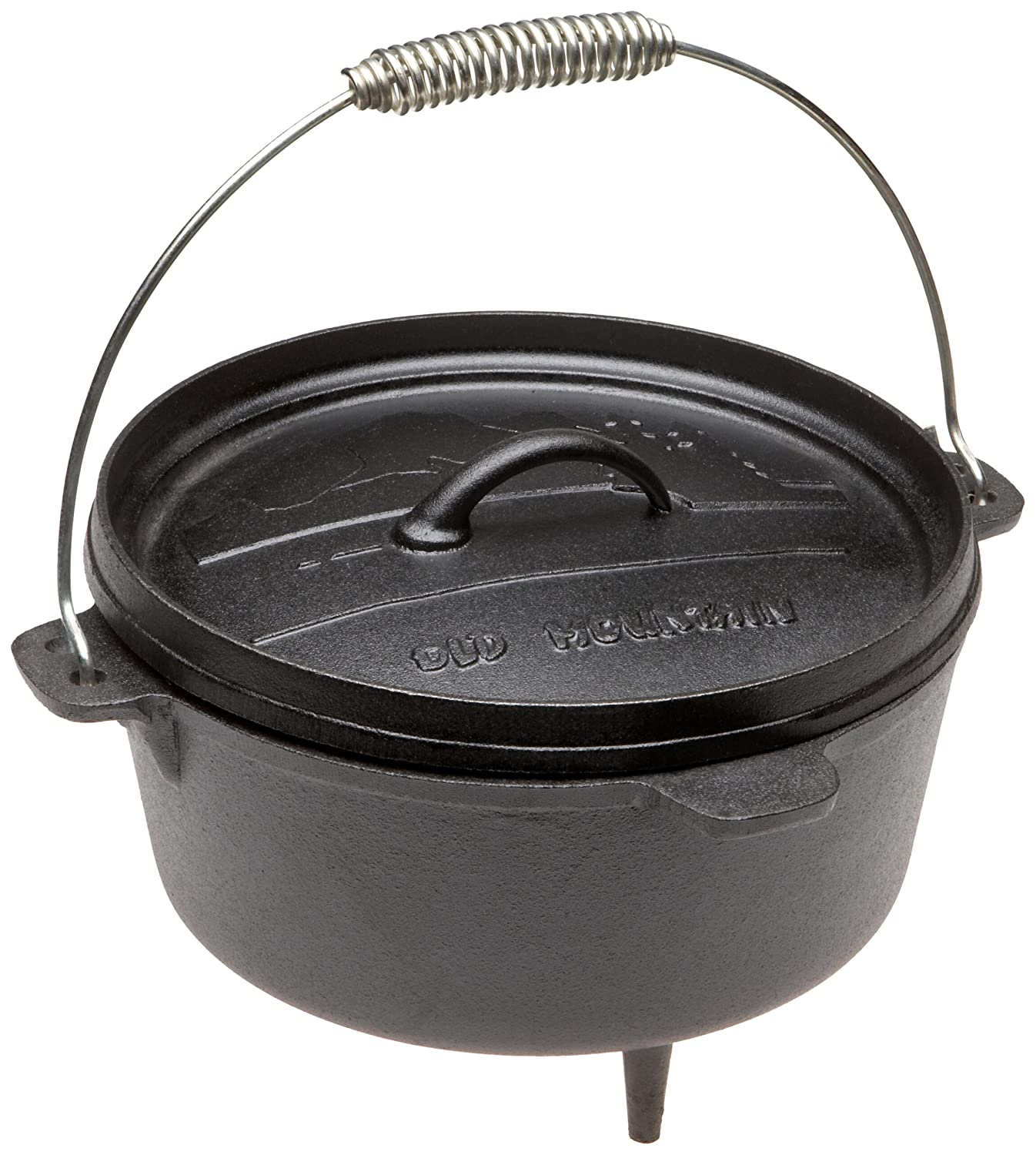 Old Mountain Pre Seasoned 10114 4 Quart Camp Oven with Flanged Lid, Feet and Spiral Bail Handle
