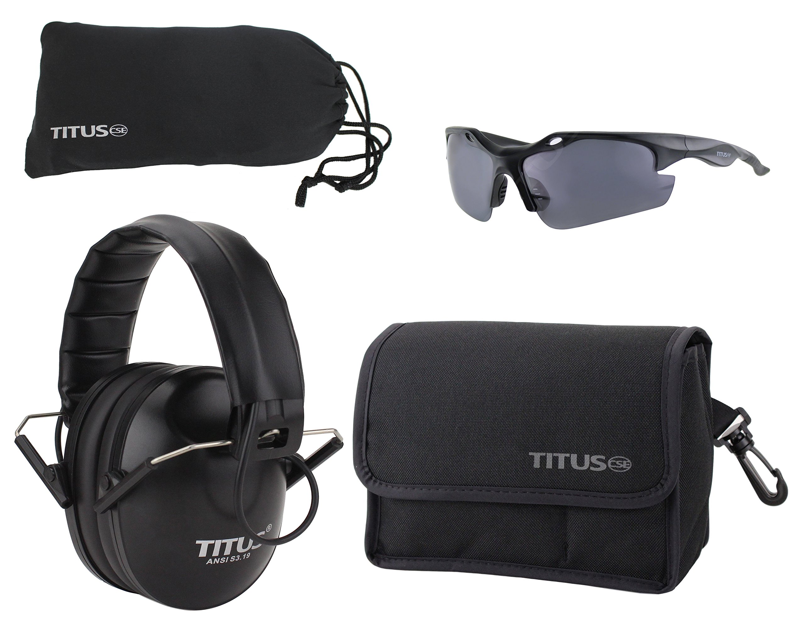 Titus TOP Slim-Line Safety Glasses and Earmuff Combos (Black - Electronic, G18 Reflective Polorized - Sculpted Frame)