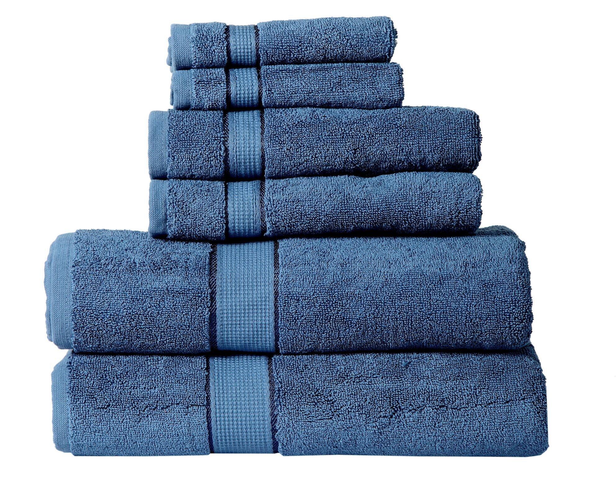 Panache Collection 600 GSM Ultra Soft 100% Cotton 6 Piece Towel Set (Navy Blue): 2 Bath Towels, 2 Hand Towels, 2 Washcloths, Long-Staple Cotton, Spa Hotel Quality, Super Absorbent, Machine Washable