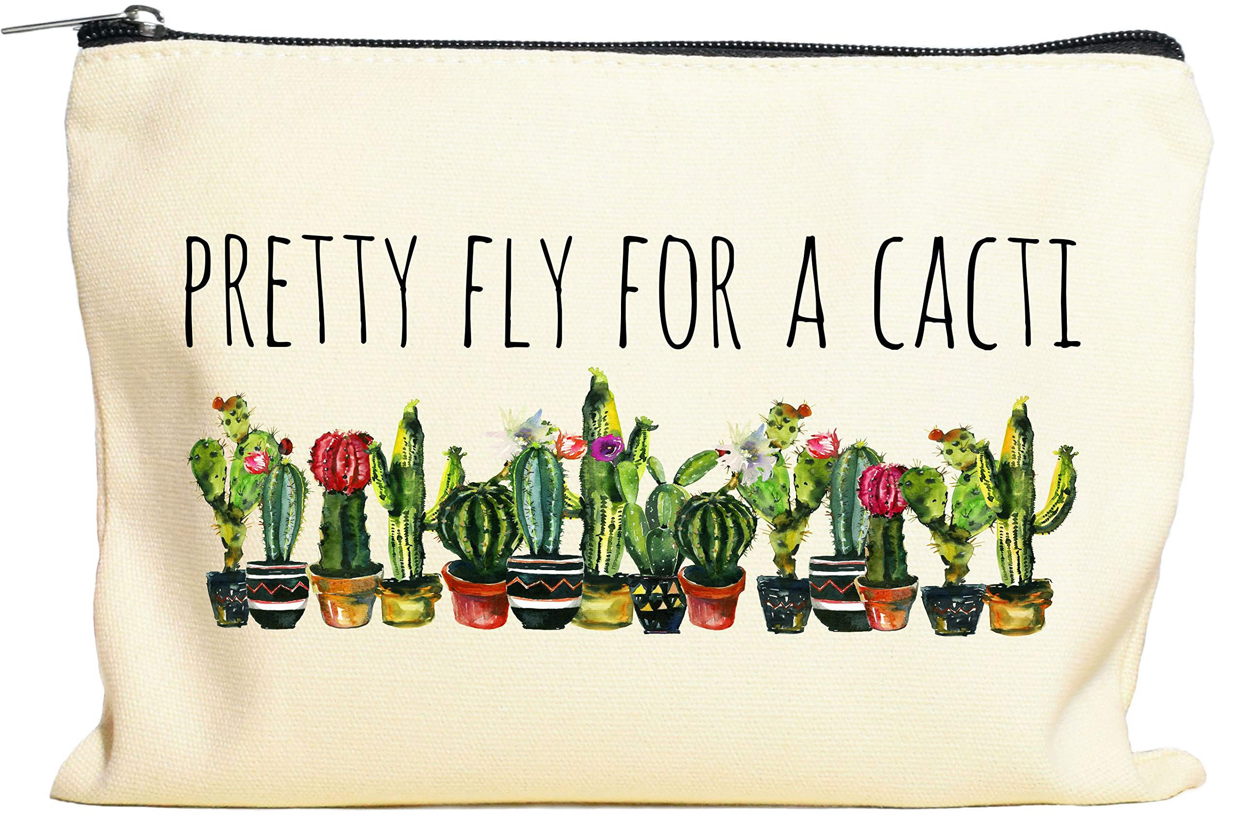 Pretty Fly For A Cacti Makeup Bag, Cactus Gift For Women, Cactus Gift, Succulent Plant Gift, Canvas Bag