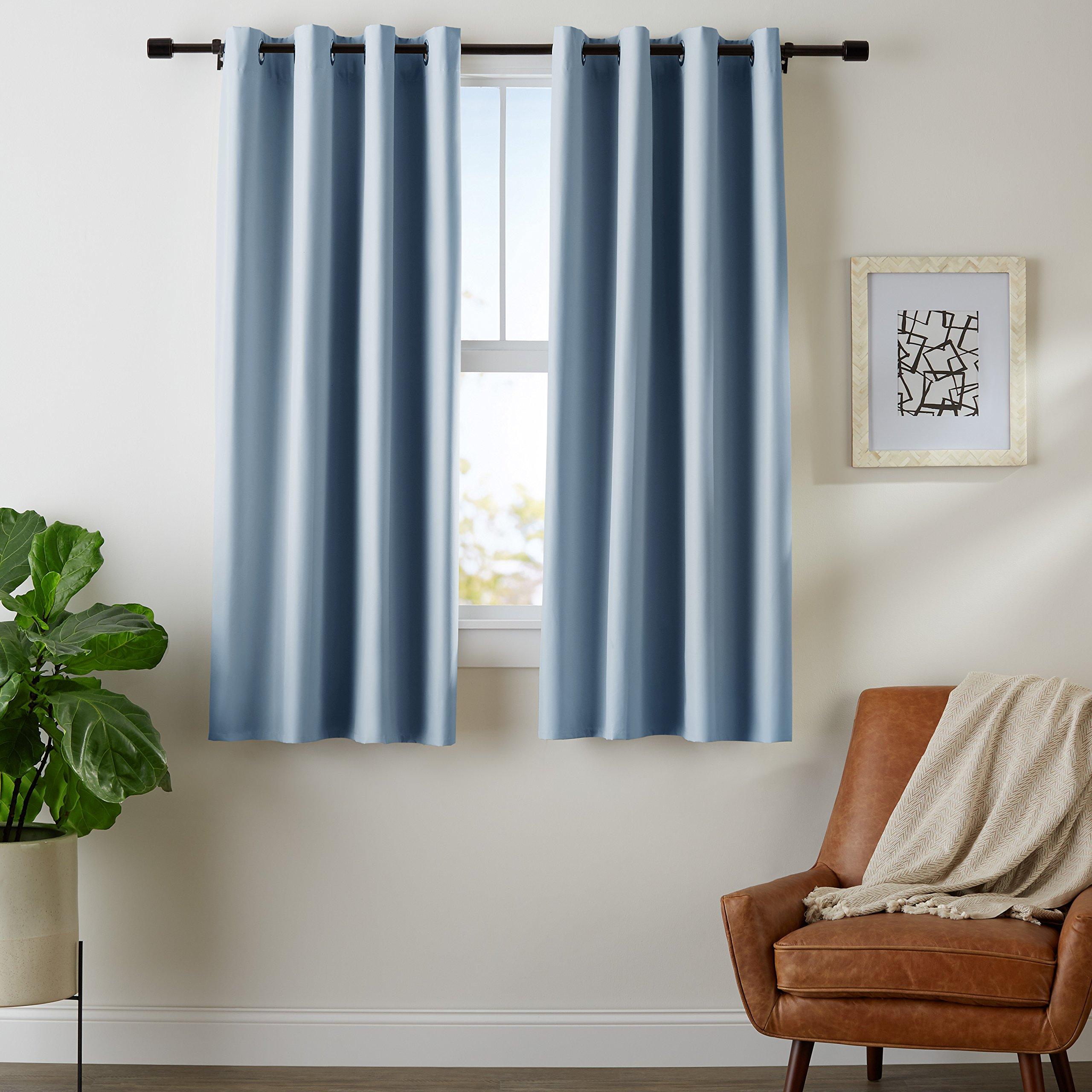 AmazonBasics Room-Darkening Blackout Curtain Set with Grommets - 42'' x 63'', Smoke Blue