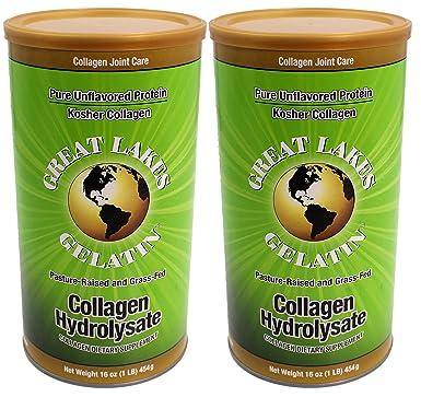 Los Grandes Lagos gelatina, Colágeno hydrolysate, Kosher, 16 oz (Pack de 2