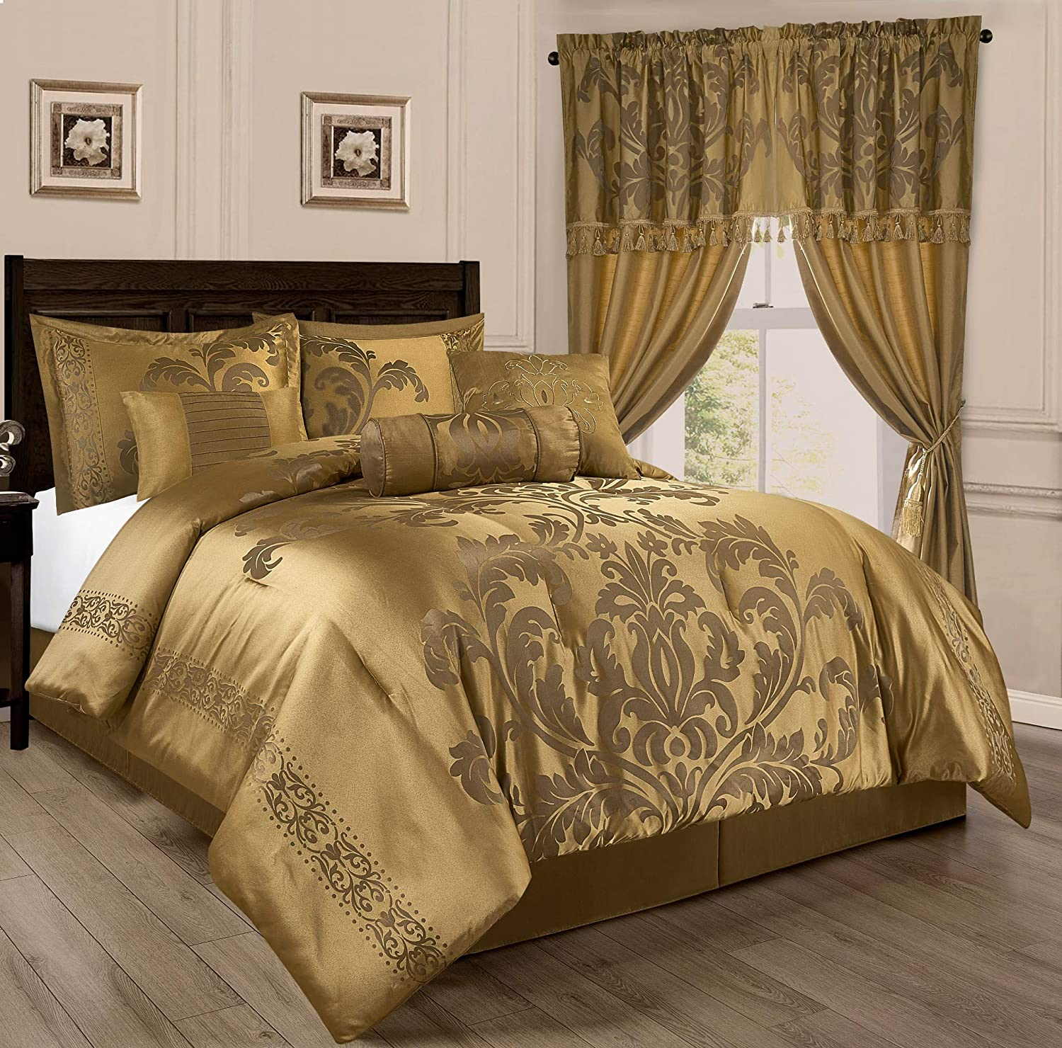Chezmoi Collection 7-Piece Jacquard Floral Comforter Set (Queen, Gold)