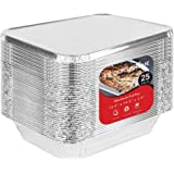 """9 x 13 Aluminum Foil Pans with Lids (25 Pack) - Disposable Steam Table Deep Pans Great for Restaurants, Parties, BBQ, Catering, Baking, Cooking, Heating, Storing, Prepping Food - 12.5"""" x 10.25"""" x 2.5"""""""