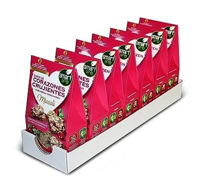 Smart Life - Corazones Crujientes Muesli Frutos Rojos - Pack de 8 Unidades de 80G.