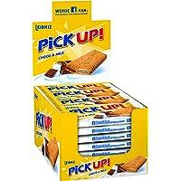 Leibniz PiCK UP Choco & milk 24 x 28 g-knackige Schokolade, knuspriger Keks-für unterwegs-lecker für zwischendurch-cremige Milchfüllung-einzeln verpackt-Großpackung-Schokokeks mit Milchcreme-Riegel