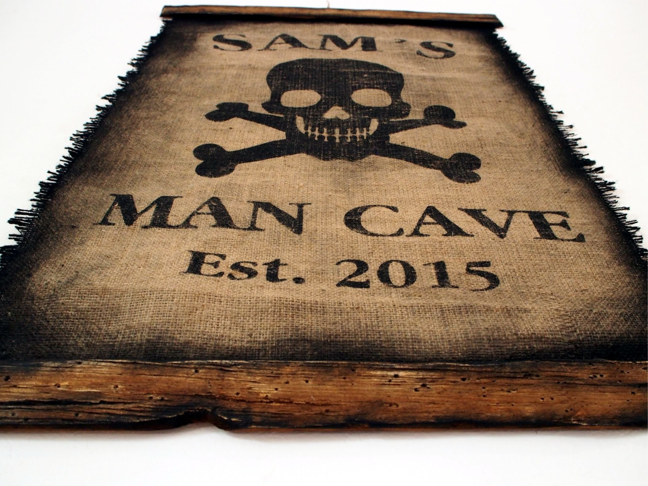 Custom Flag wall decor made of worn out burlap and wood | Rustic Decor | Pirate flag Wall art | Personalized Gift | Man Cave, Home Bar, Boys Room by Woodcraft City (Image #9)