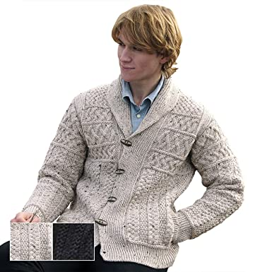 100% Irish Merino Wool Mens Shawl Collar Cardigan, Oatmeal, Small ...