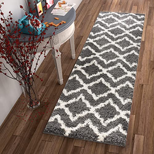 Lattice Links Modern Geometric Trellis 2×7 2 x 7 3 Runner Area Rug Grey Ivory Plush Shag Easy Care Thick Soft Plush Living Room