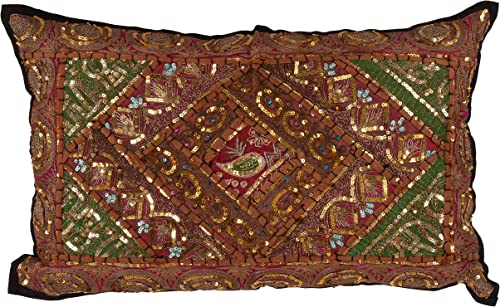 SARO LIFESTYLE Collection Cotton Handmade Sari Sitara Pillow with Down Filling, 14 x 22 , Multi