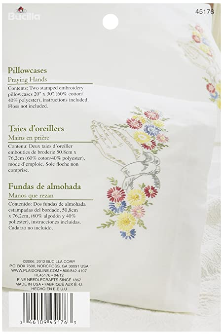 Amazon Bucilla Stamped Embroidery Pillow Case Pair Kit 20 By