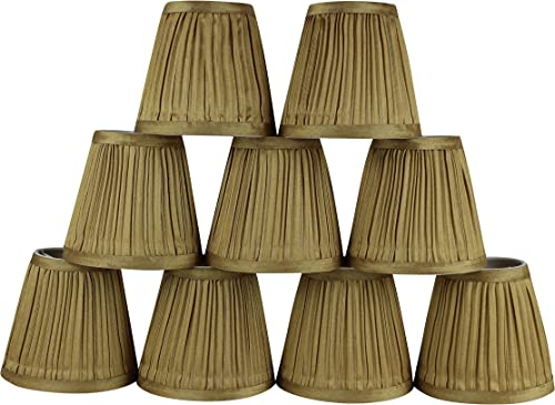 Urbanest Set of 9 Mushroom Pleated Chandelier Lamp Shade, 3-inch by 5-inch by 4.5-inch, Gold