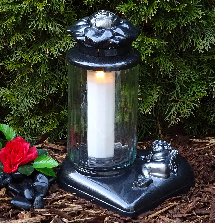 Engel Grablaterne Grablampe Grableuchte  Grablicht Schutzengel Kerze Grabschmuck