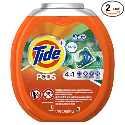 Tide PODS 4 in 1 HE Turbo Laundry Detergent Pacs, Botanical Rain Scent, 61