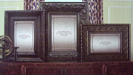 Sheffield Home Elegant 3 Piece Photo Frame Set Antiqued Bronze