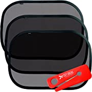 Car Window Shade XL (3-Pack) | Sun Shade for Car Window | Window Clings | UPF50+ Protection from Harmful UV Rays | Free Seat Belt Cutter & eBook | Baby Shower Gift Box