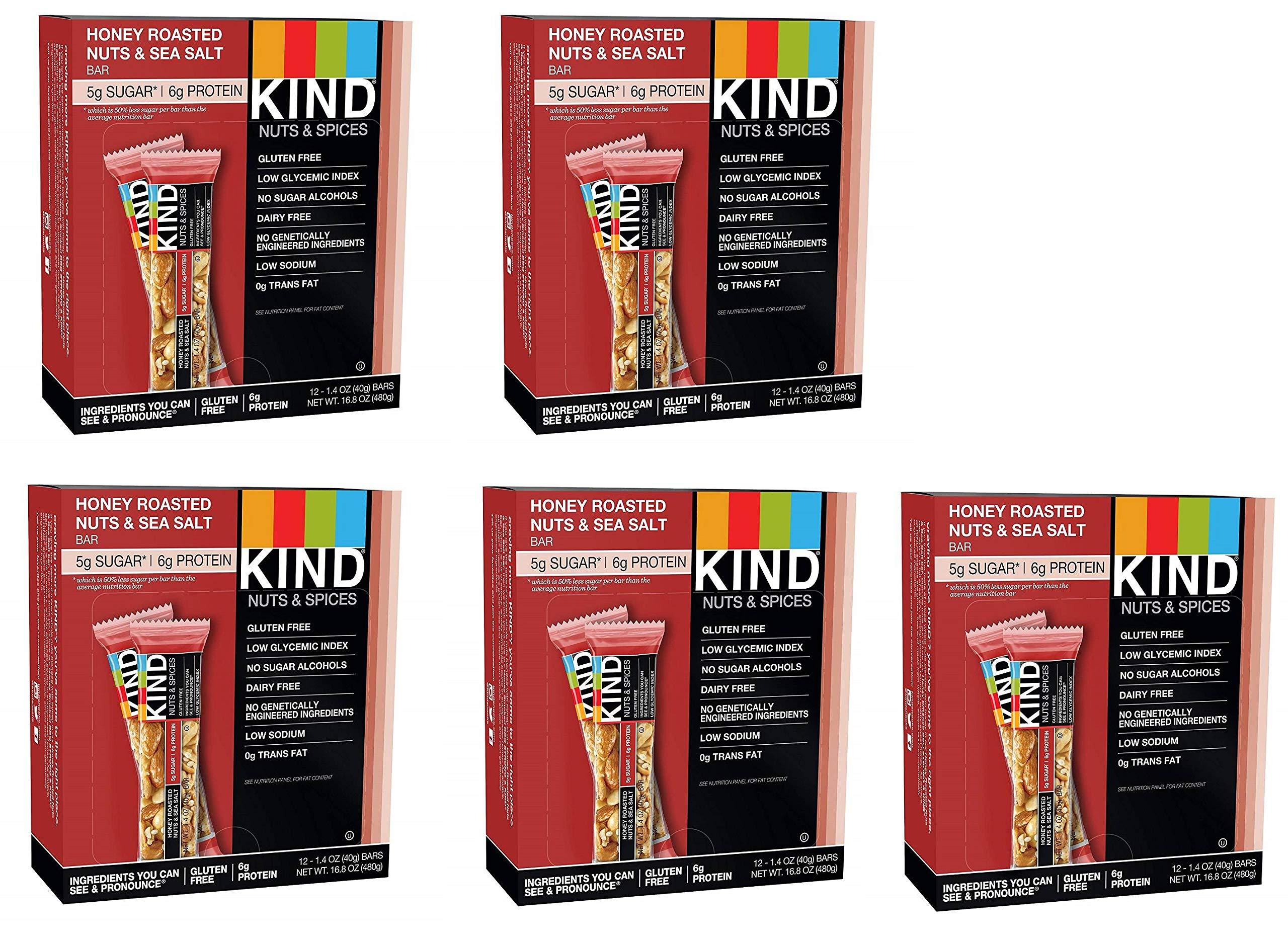 KIND Bars, Honey Roasted Nuts and Sea Salt, Gluten Free, Low Sugar, 1.4oz, 60 Bars