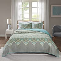 Comfort Spaces Quilt Coverlet Bedspread Ultra Soft 100% Cotton Paisley Pattern Hypoallergenic Bedding Set, CS14-0807, Fabric, Teal, Full/Queen
