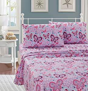 Better Home Style Pink Purple Lavender and Turquoise Blue Girls/Kids/Teens Fun 3 Piece Sheet Set with Butterflies Butterfly Flowers Floral Design # Lavender Butterfly (Twin)