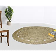 Cotton Craft - 100% Pure Natural Eco-Friendly Jute - Fully Reversible - 4 Feet Round - Braided Dots Round Area Rug