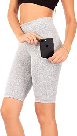 "DEAR SPARKLE High Waist Yoga Shorts Workout 3 Pockets Tummy Control Running 9"" Short Plus (S3)"