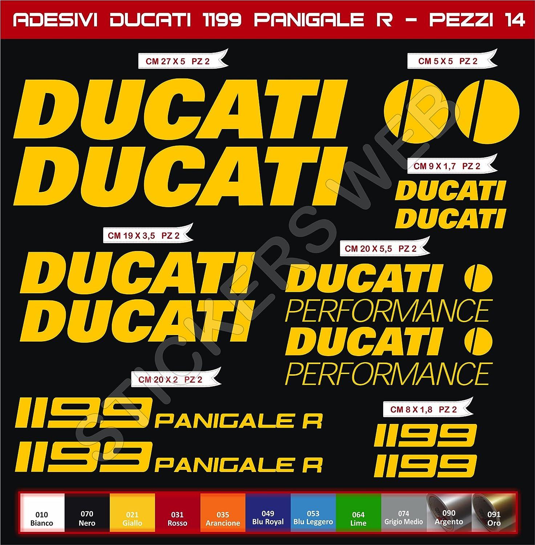 Pimastickerslab Adesivi Stickers Ducati 1199 Panigale R Performance Kit 14 Pezzi Moto Motorbike pegatina cod.0589 Scegli Colore