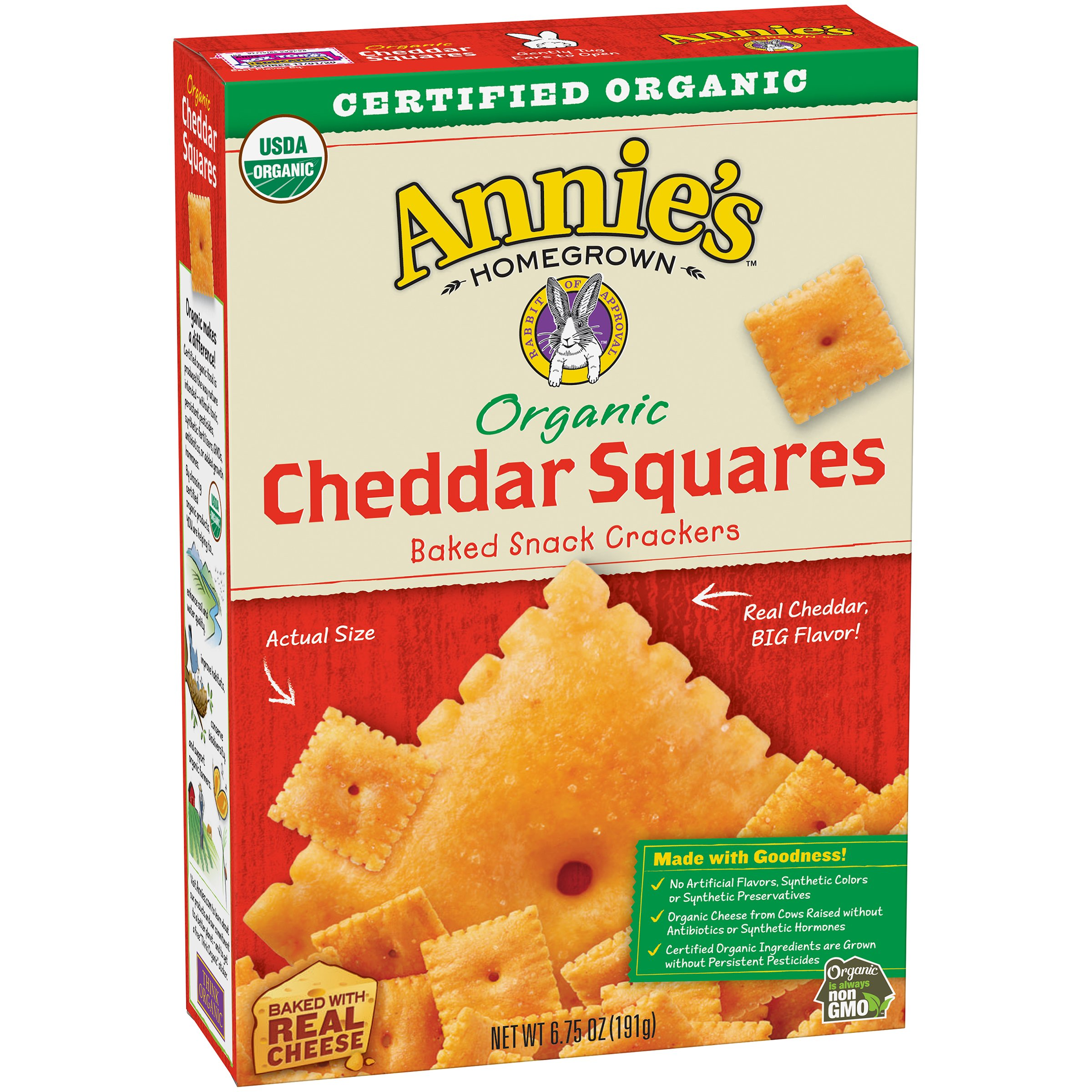 Annie's Organic Cheddar Squares, Baked Cheese Crackers, 6.75 oz Box