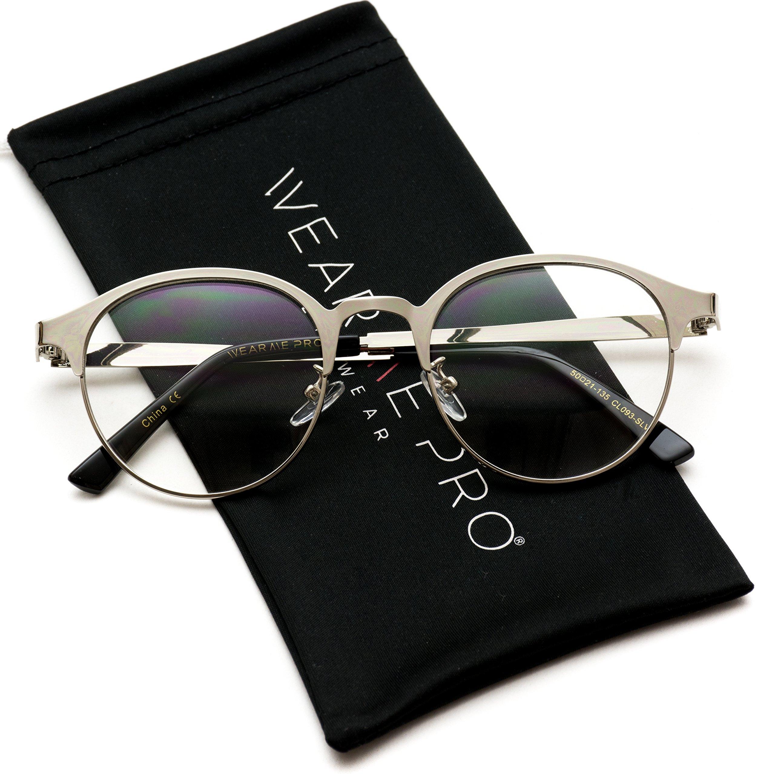 WearMe Pro - Round Lightweight Metal Nerd Glasses (Silver Frame, 50) by WearMe Pro