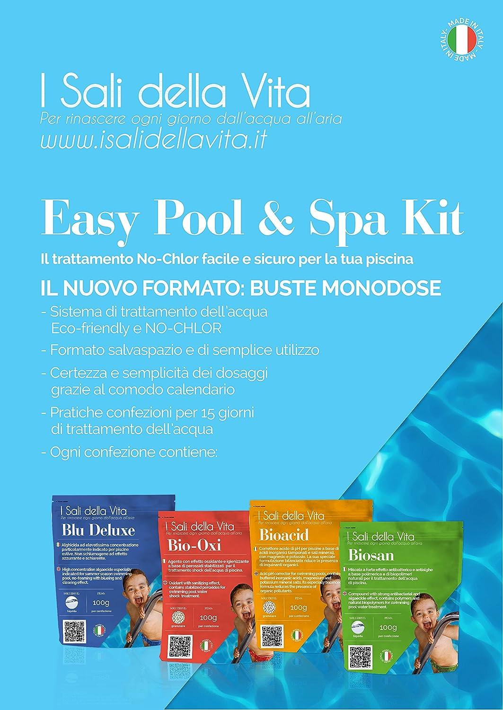 Tratamiento Completo del agua de piscina sin cloro. Kit de coche para piscinas y jacuzzis de negocios sobres predosate. Gestión de la piscina