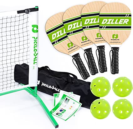 Pickle-Ball, Inc. Pickleball Diller Tournament Net Set (Set Includes Metal Frame + Net + 4 Paddles + 4 Balls + Rules Sheet in Carry Bag) || Makes A ...