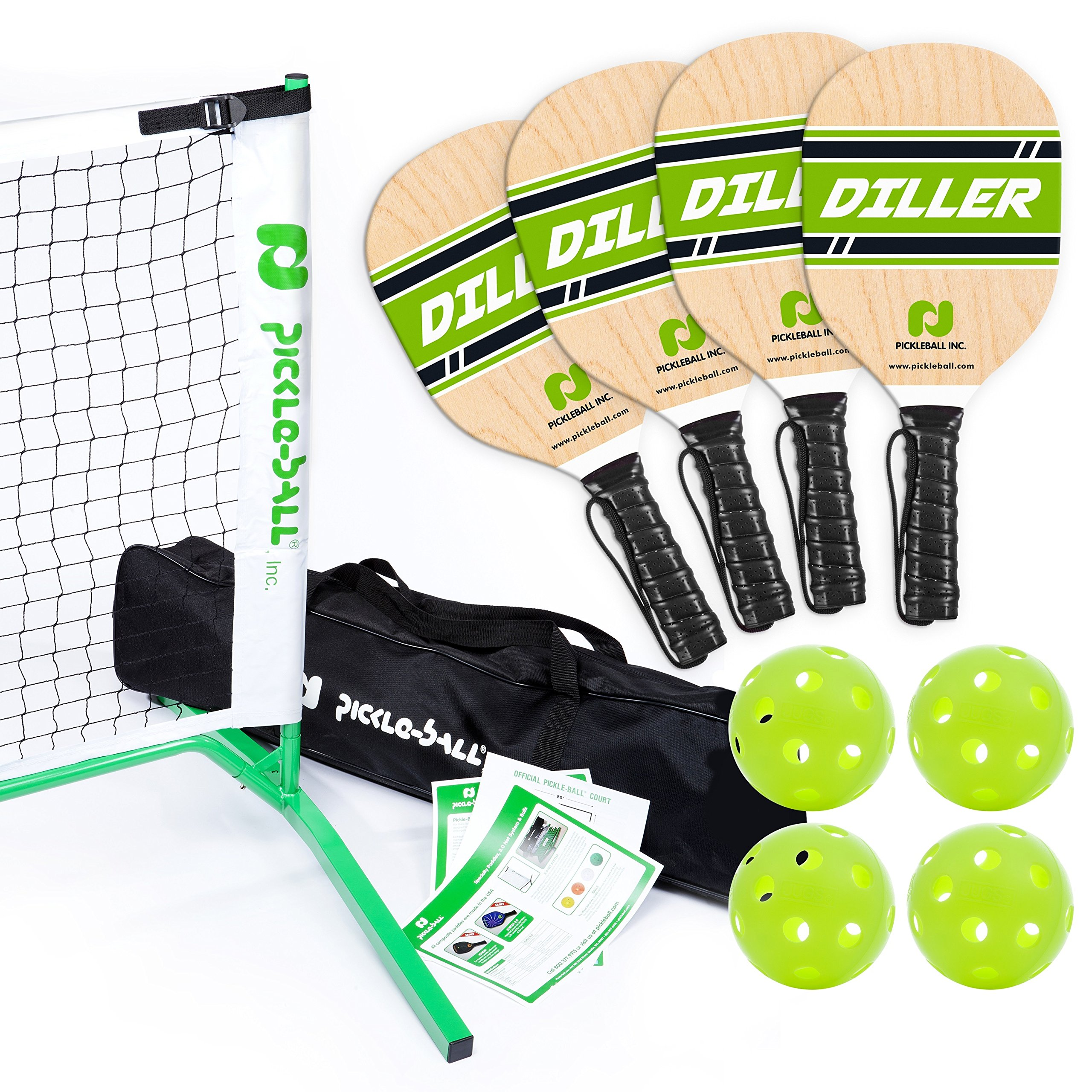 Pickle-Ball, Inc. Pickleball Diller Tournament Net Set (Set Includes Metal Frame + Net + 4 paddles + 4 balls + Rules Sheet in Carry Bag) by Pickle-Ball (Image #1)