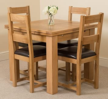 MODERN FURNITURE DIRECT Richmond Small Extending Solid Oak Dining Table 4 Lincoln Leather Chairs