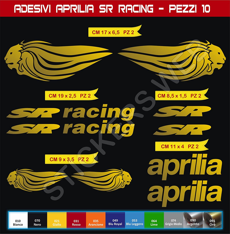 Adesivi Stickers Aprilia SR Racing Leone Lion Kit 10 Pezzi Moto Motorbike cod.0555 Scegli Colore