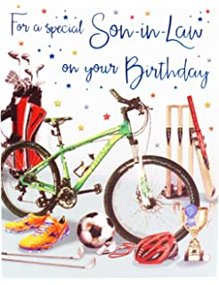 Happy Birthday Greeting Card Son In Law Hallmark Verse Mens Him Male Sports Age