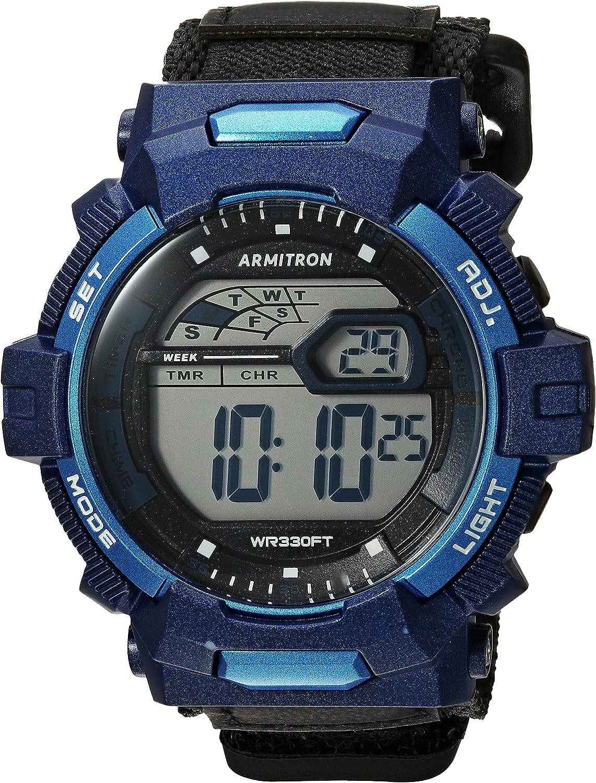 Armitron Sport Men s 40 8412NVY Navy Blue Accented Digital Chronograph Black Nylon Strap Watch