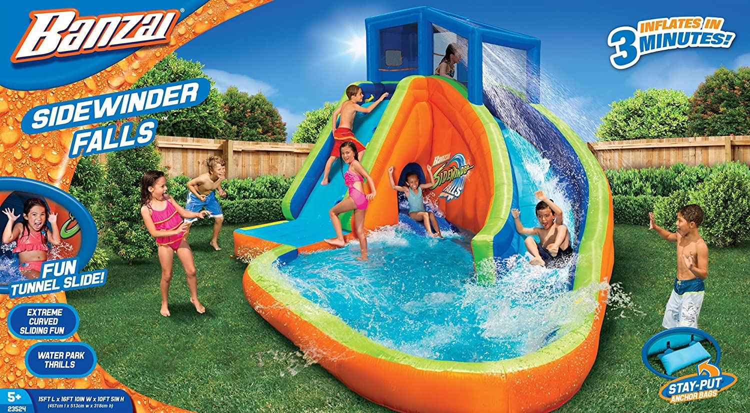 amazon com banzai sidewinder falls inflatable water park toys