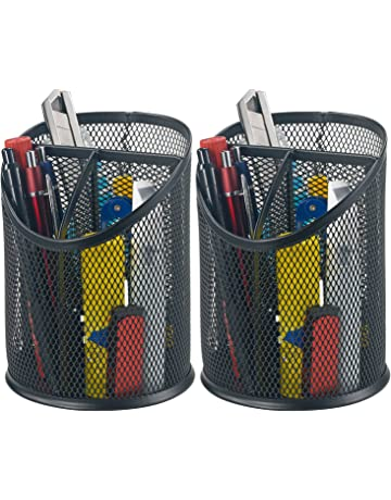 Bonsaii 2-Pack Round Steel Mesh Pen Pencil Desk Holder Organizer 3 Compartments,Black