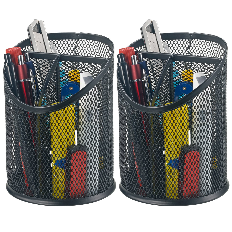 Bonsaii 2-Pack Round Steel Mesh Pen Pencil Desk Holder Organizer 3 Compartments,Black(W6809)