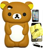 BUKIT CELL ® 3D Bear Cartoon Soft Silicone Case for IPOD TOUCH 4 4G 4TH GENERATION – BROWN [Bundle - 4 items: Case, Bukit Cell Cleaning Cloth, Screen Protector and METALLIC STYLUS Touch Pen with Anti Dust Plug]