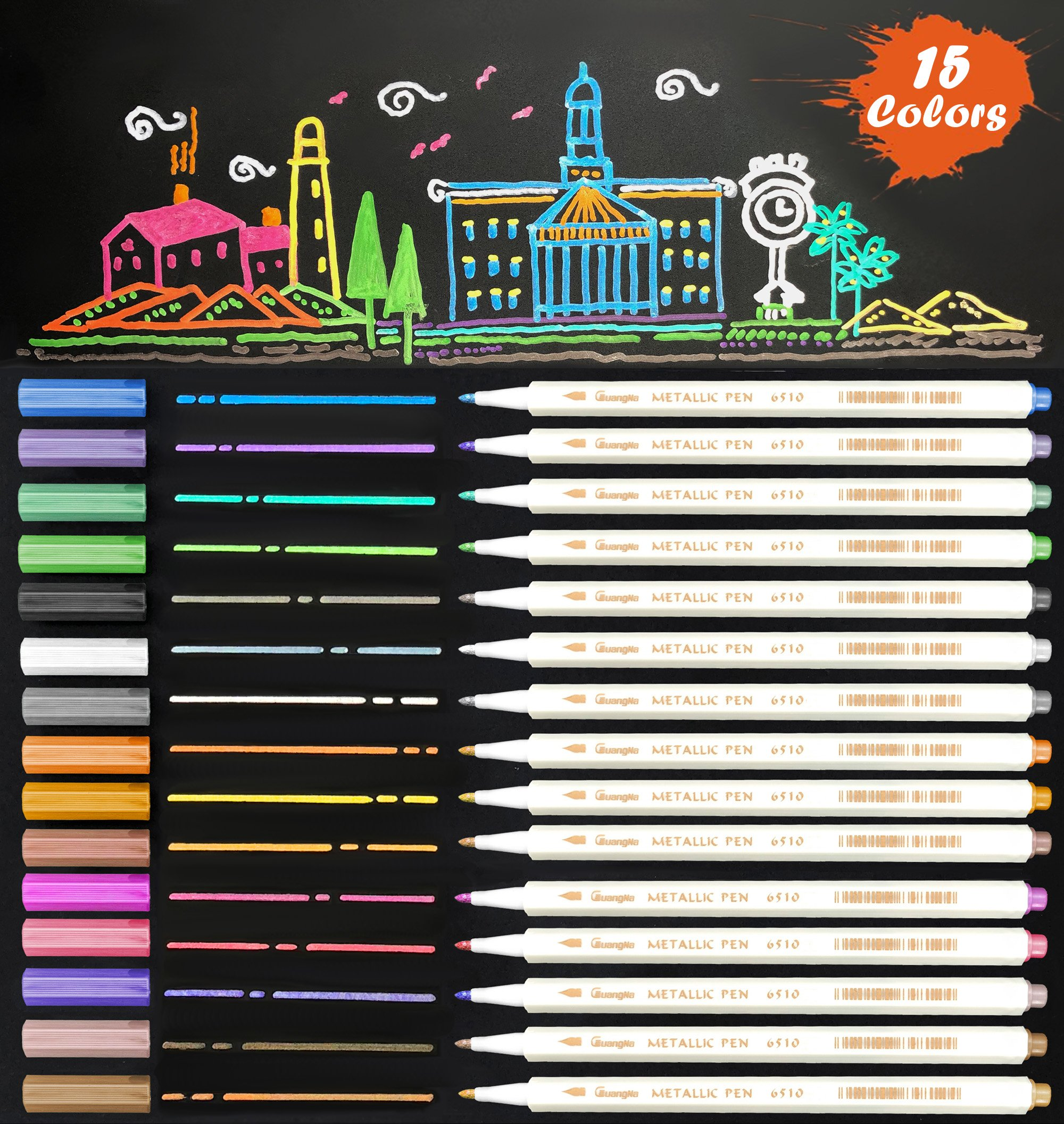 Metallic Marker Pens, 15 Assorted Color Fine Tip Sheen Glitter Painting Pen Card Making, Birthday Greeting, DIY Photo Album,Scrap booking,Rock Painting,Mug,Calligraphy,Valentine's Day Cards (15 Color)